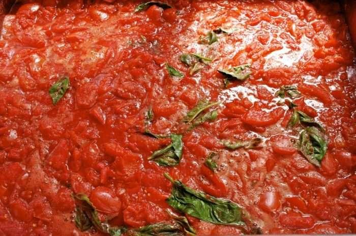 Molho de tomate com manjericao