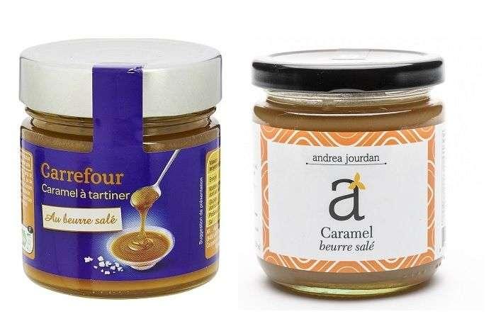 Caramelo salgado das marcas Carrefour e Andrea Jourdan