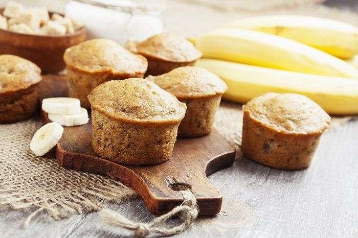 Pão de banana em formato mufiin