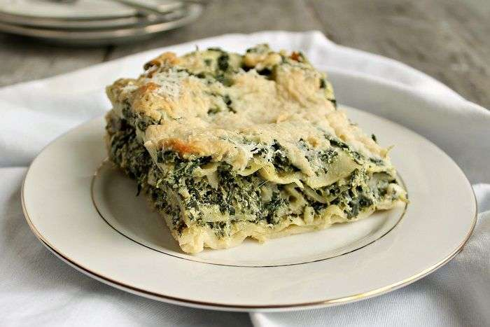 Lasagna com espinafres