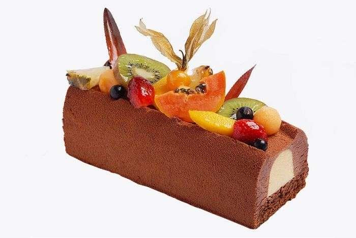 Bûche de noel da doceria Douce France com mousse de maracuja com gelatina