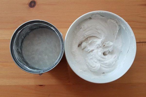 creme de coco caseiro e água