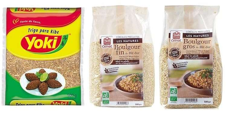bulgur e trigo para kibe